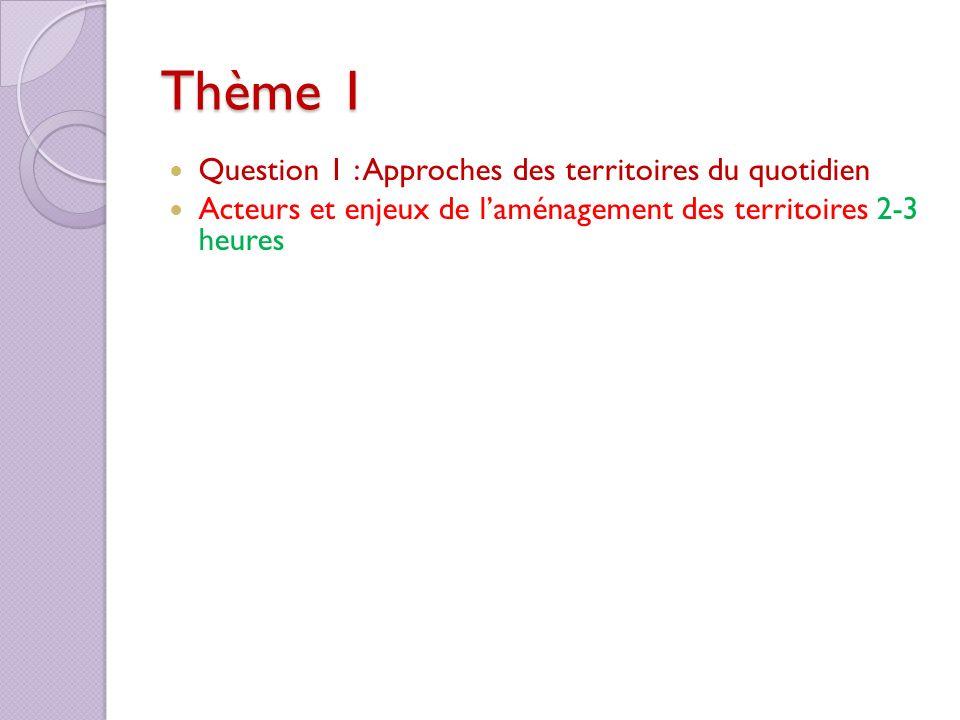 Thème 1 Question 1 : Approches des territoires du quotidien