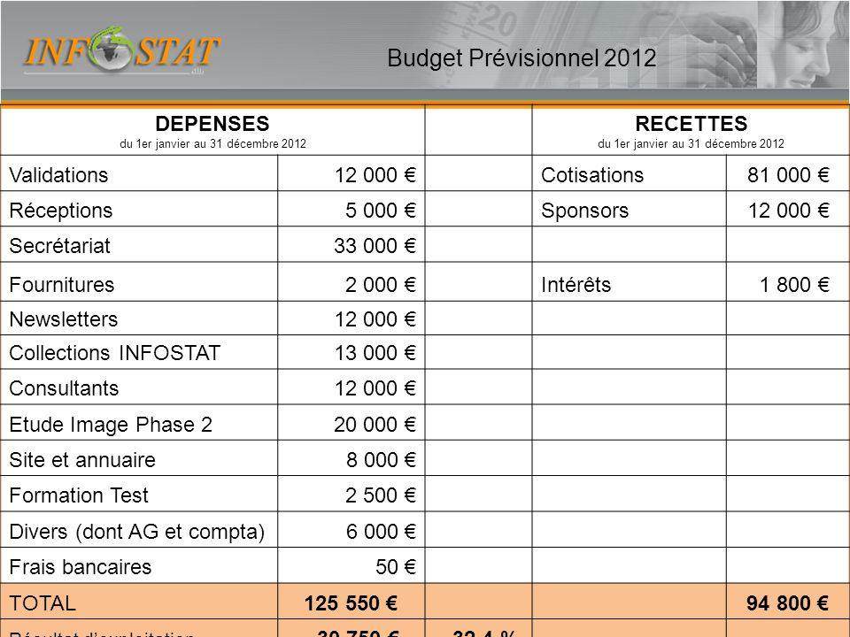 Budget Prévisionnel 2012 DEPENSES du 1er janvier au 31 décembre 2012