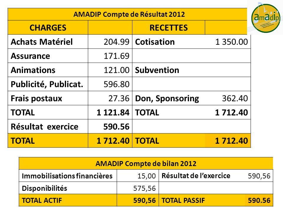 AMADIP Compte de Résultat 2012