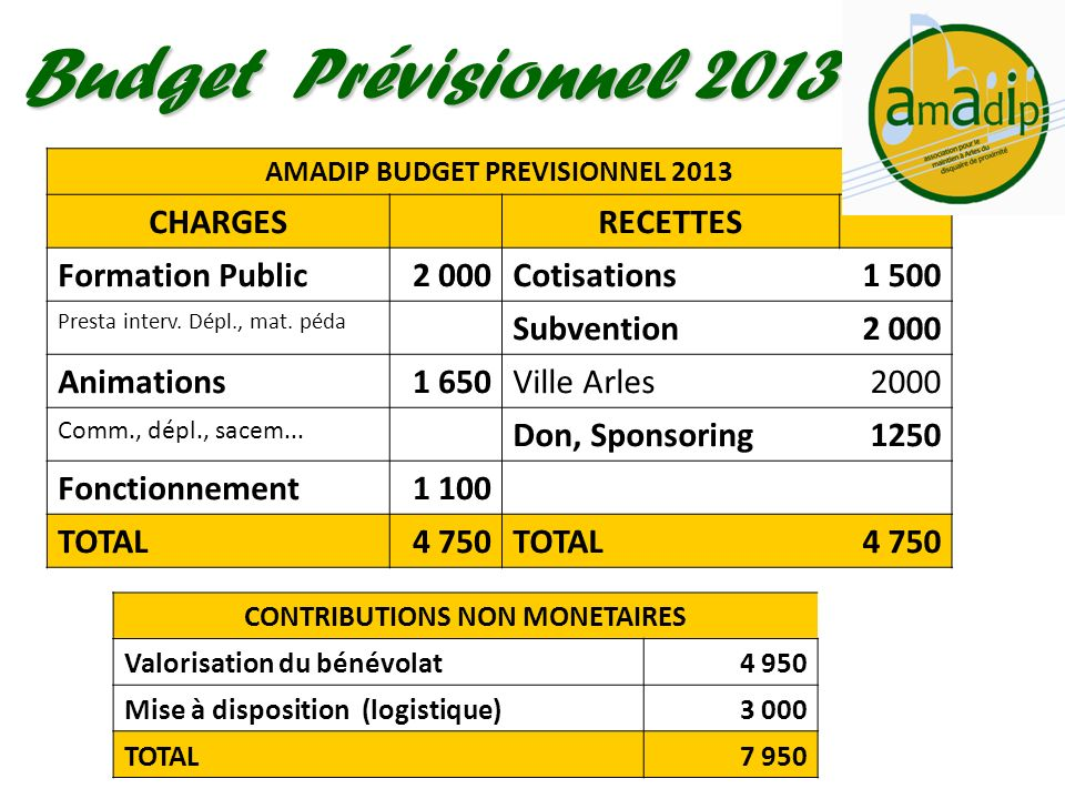 AMADIP BUDGET PREVISIONNEL 2013 CONTRIBUTIONS NON MONETAIRES
