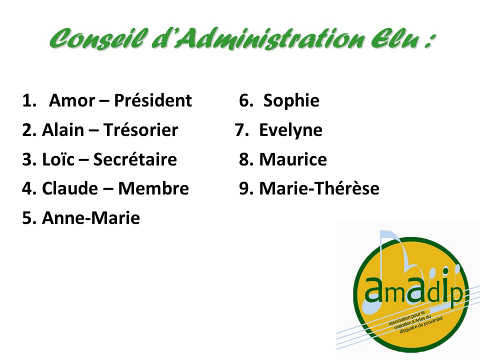 Conseil d'Administration Elu :