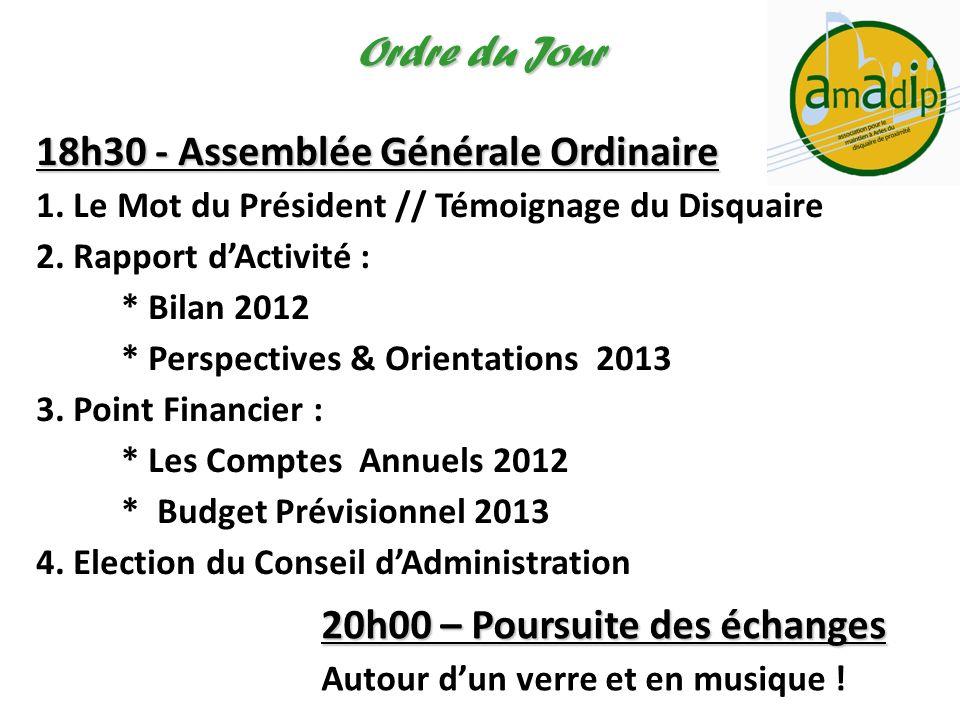 18h30 - Assemblée Générale Ordinaire