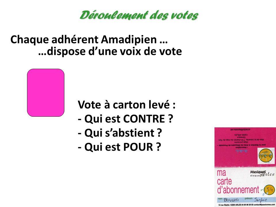 Déroulement des votes Chaque adhérent Amadipien … …dispose d'une voix de vote. Vote à carton levé :