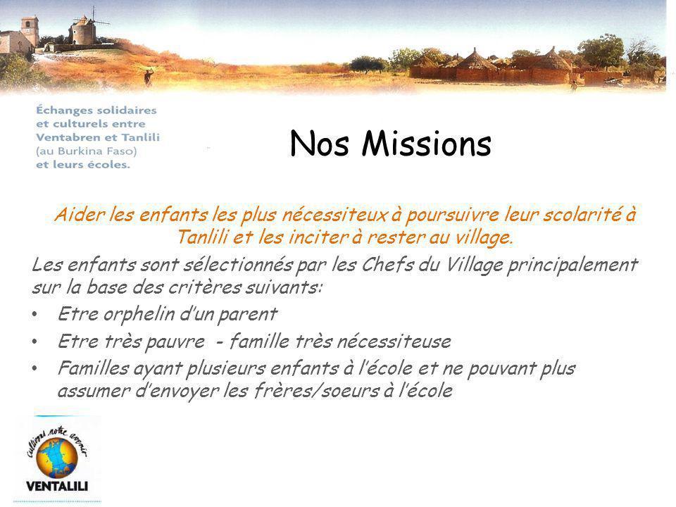 Nos Missions Aider les enfants les plus nécessiteux à poursuivre leur scolarité à Tanlili et les inciter à rester au village.