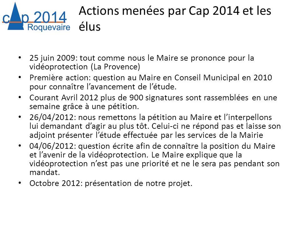 Actions menées par Cap 2014 et les élus