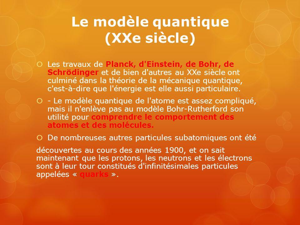 Le modèle quantique (XXe siècle)