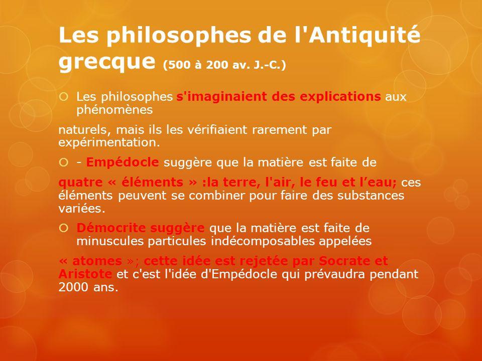 Les philosophes de l Antiquité grecque (500 à 200 av. J.-C.)