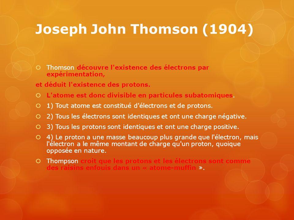 Joseph John Thomson (1904) Thomson découvre l existence des électrons par expérimentation, et déduit l existence des protons.
