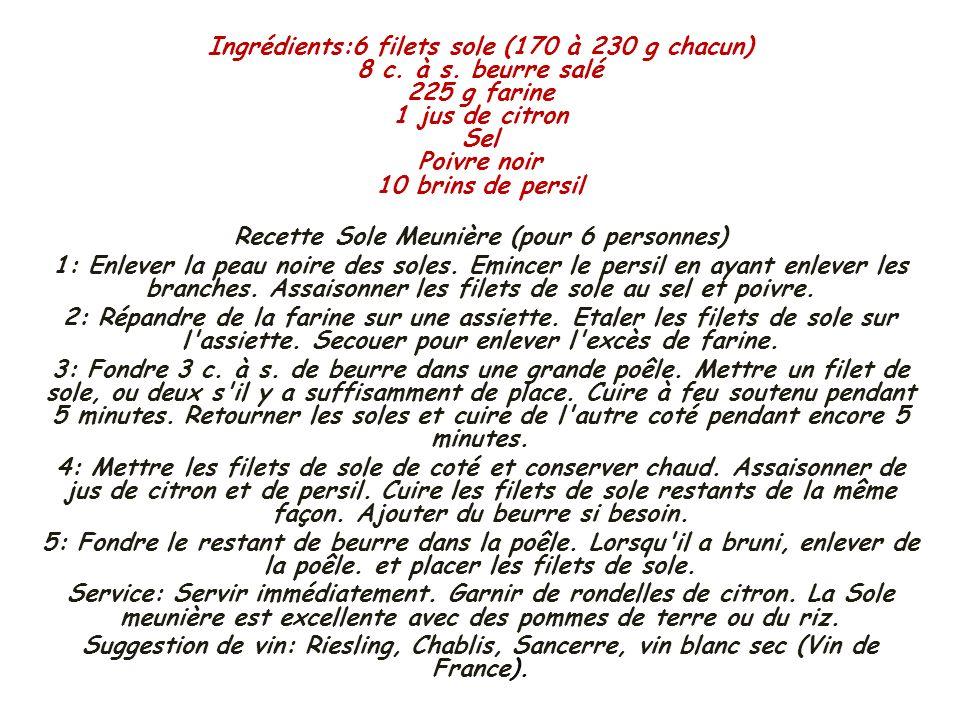 Recette Sole Meunière (pour 6 personnes)