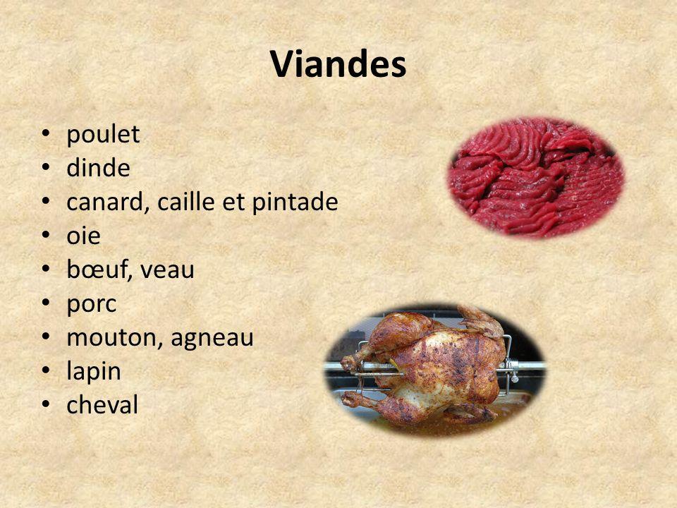 Viandes poulet dinde canard, caille et pintade oie bœuf, veau porc