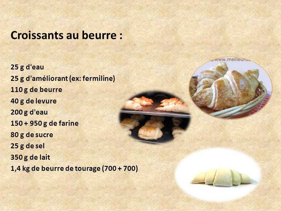 Croissants au beurre : 25 g d eau 25 g d améliorant (ex: fermiline)