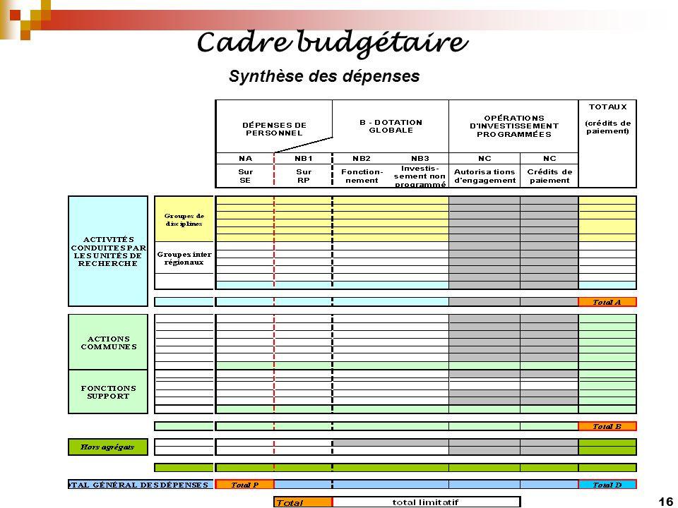 Cadre budgétaire Synthèse des dépenses