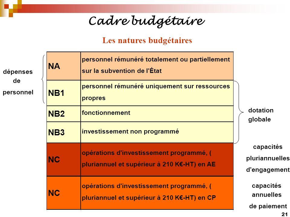 Les natures budgétaires
