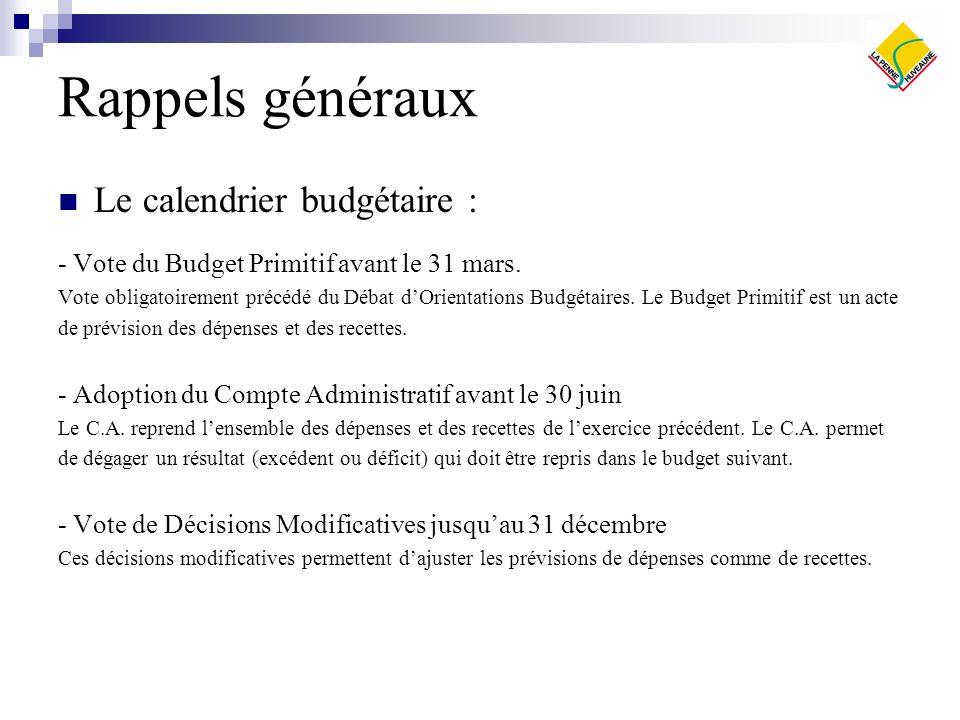Rappels généraux Le calendrier budgétaire :