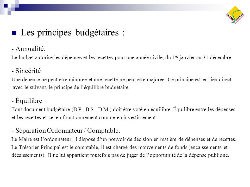 Les principes budgétaires :