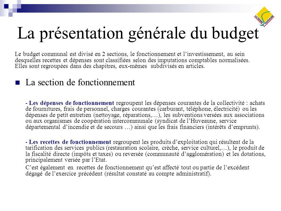 La présentation générale du budget