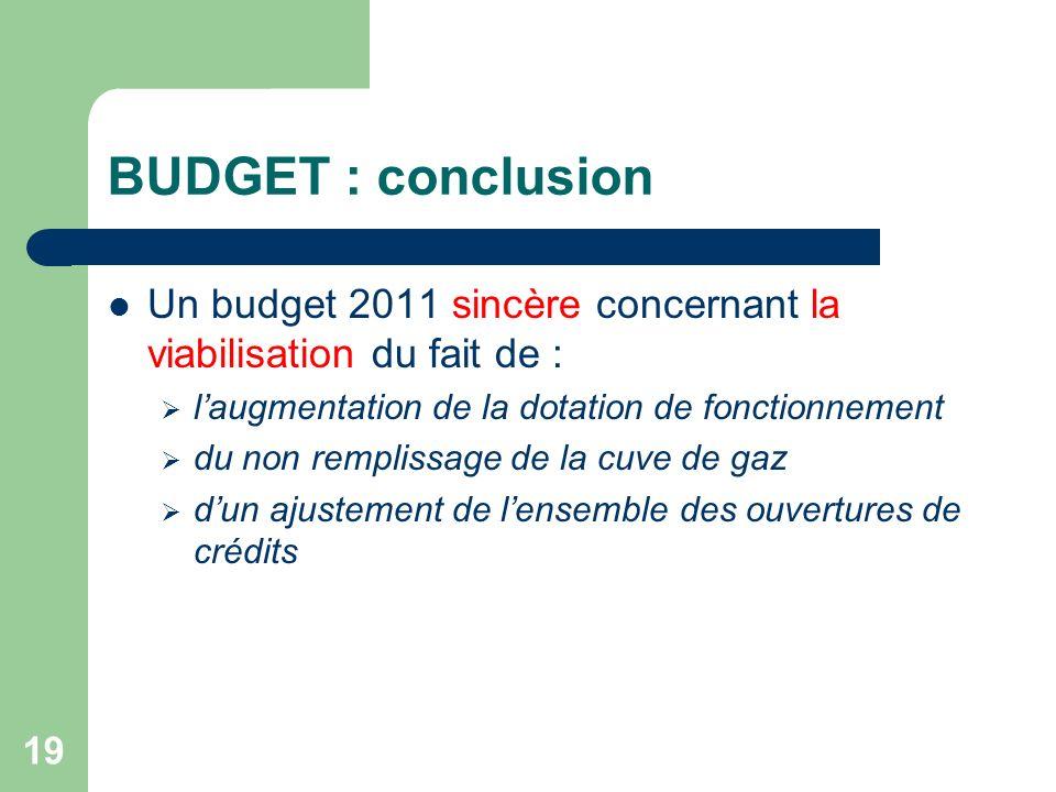 BUDGET : conclusion Un budget 2011 sincère concernant la viabilisation du fait de : l'augmentation de la dotation de fonctionnement.