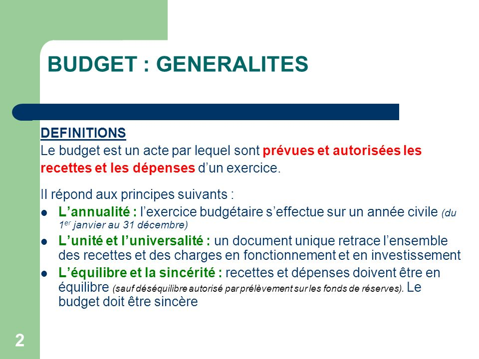 BUDGET : GENERALITES DEFINITIONS