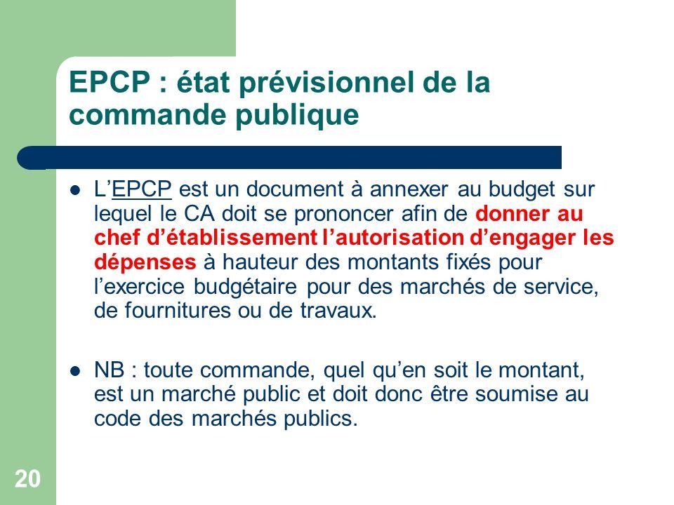 EPCP : état prévisionnel de la commande publique