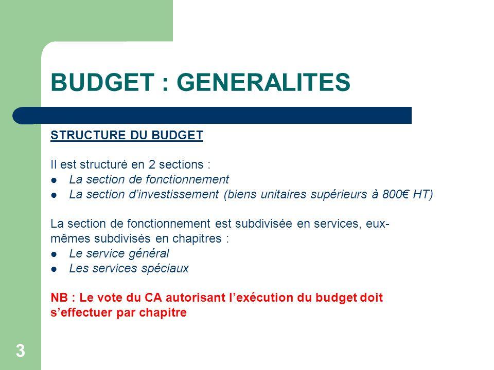 BUDGET : GENERALITES STRUCTURE DU BUDGET