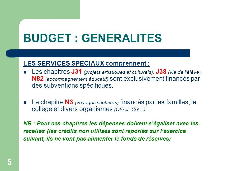 BUDGET : GENERALITES LES SERVICES SPECIAUX comprennent :