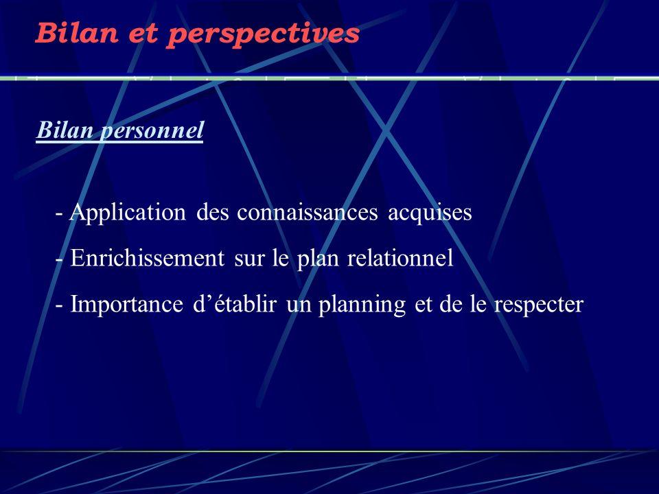 Bilan et perspectives Bilan personnel