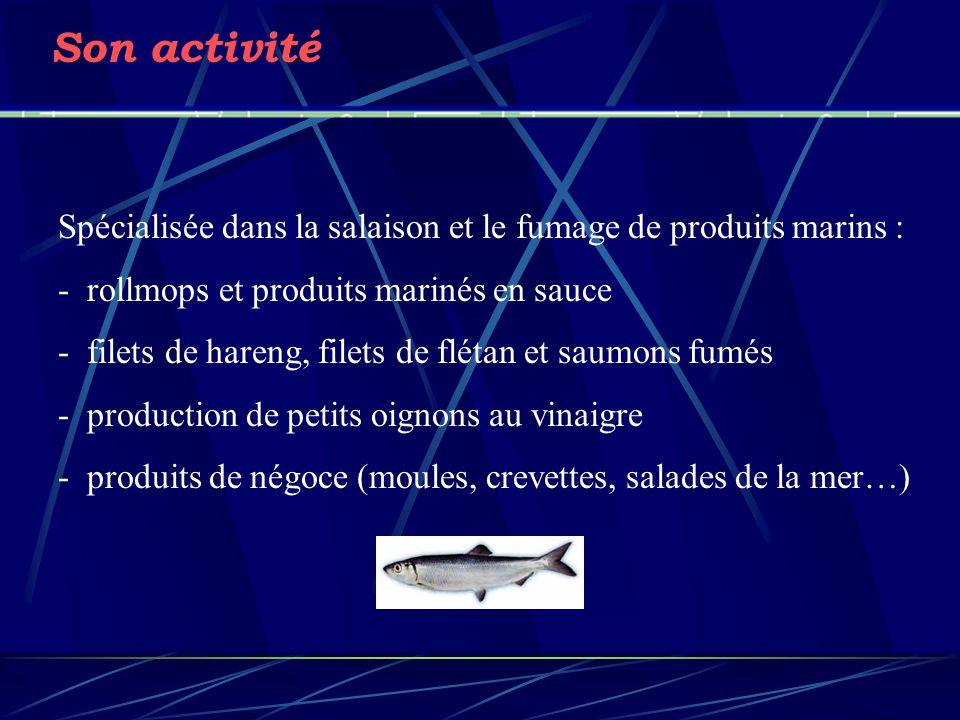 Son activité Spécialisée dans la salaison et le fumage de produits marins : - rollmops et produits marinés en sauce.