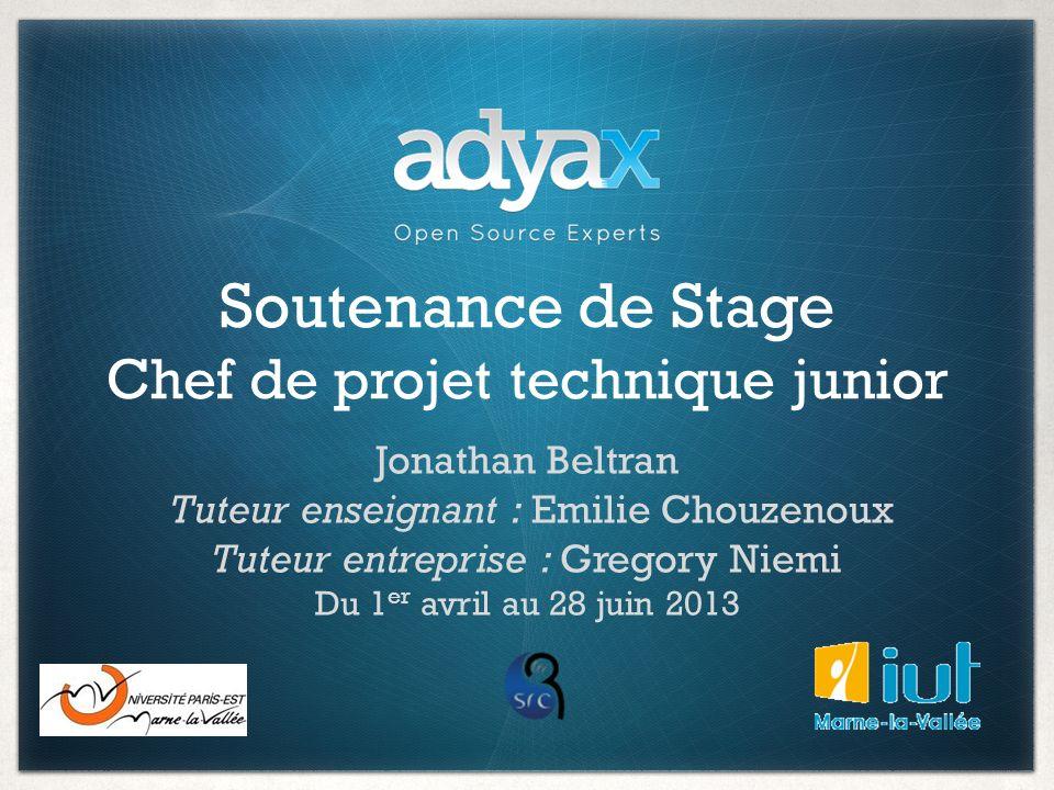 Soutenance de Stage Chef de projet technique junior