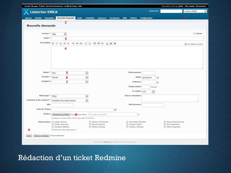 Rédaction d'un ticket Redmine