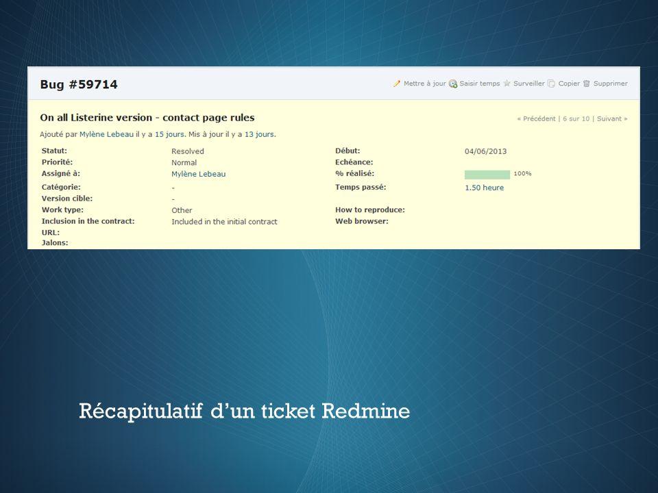 Récapitulatif d'un ticket Redmine