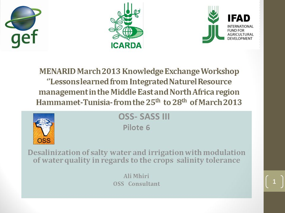 MENARID March 2013 Knowledge Exchange Workshop ''Lessons learned from Integrated Naturel Resource management in the Middle East and North Africa region Hammamet-Tunisia- from the 25th to 28th of March 2013