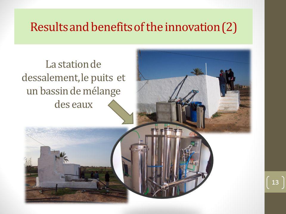 La station de dessalement, le puits et un bassin de mélange des eaux
