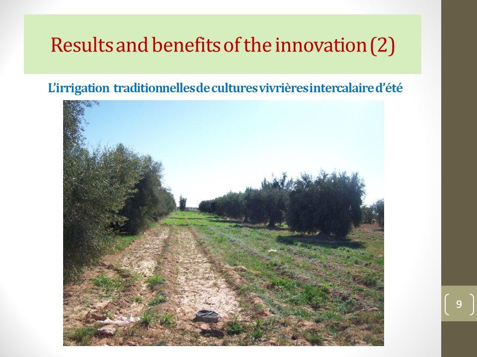 L'irrigation traditionnelles de cultures vivrières intercalaire d'été