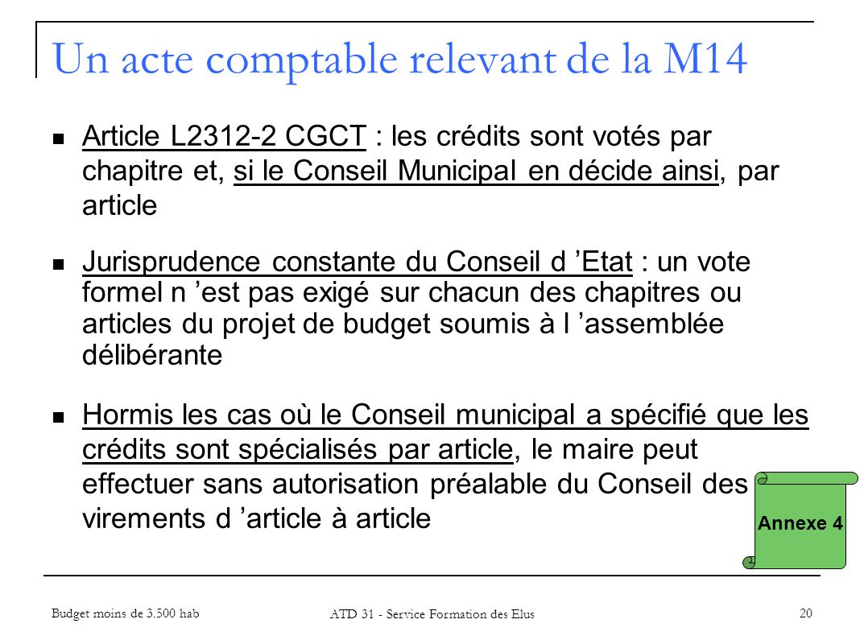 Un acte comptable relevant de la M14