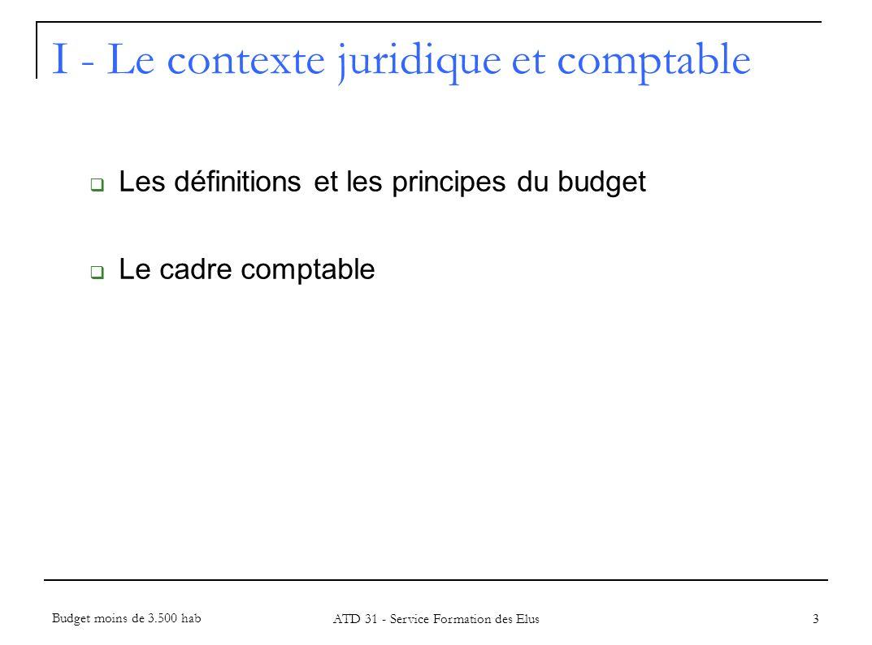 I - Le contexte juridique et comptable