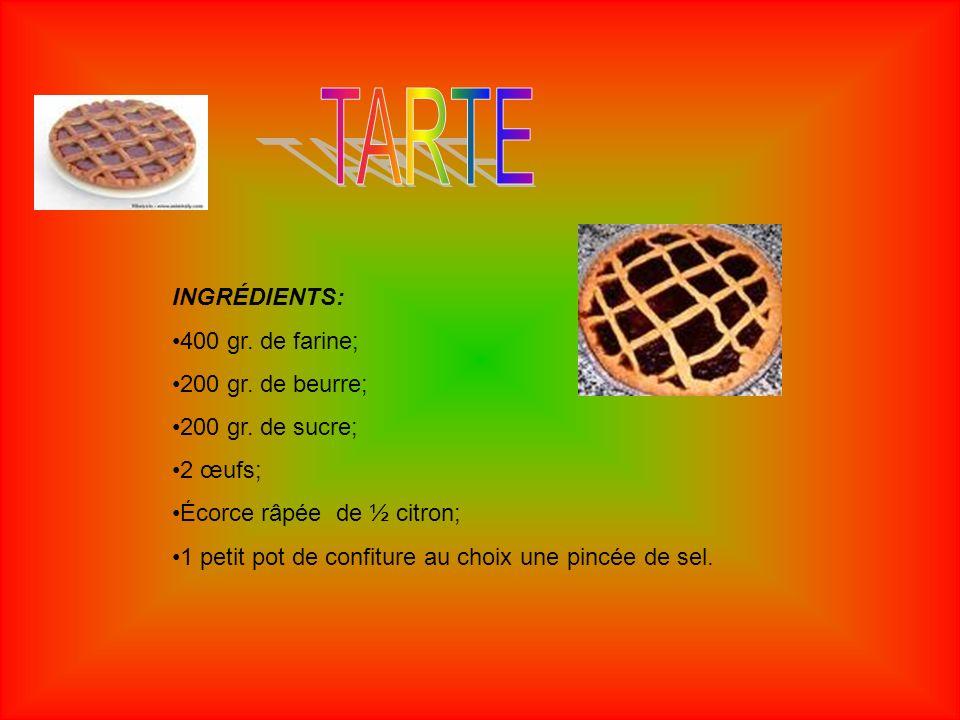 TARTE INGRÉDIENTS: 400 gr. de farine; 200 gr. de beurre;