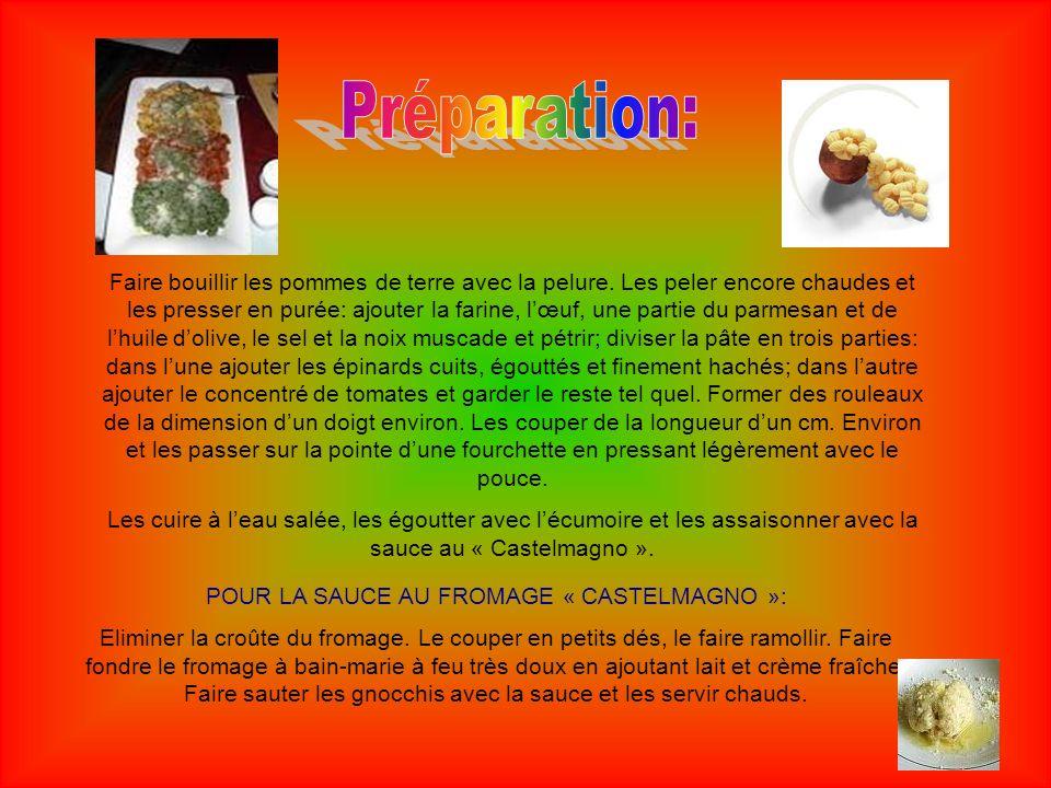 POUR LA SAUCE AU FROMAGE « CASTELMAGNO »: