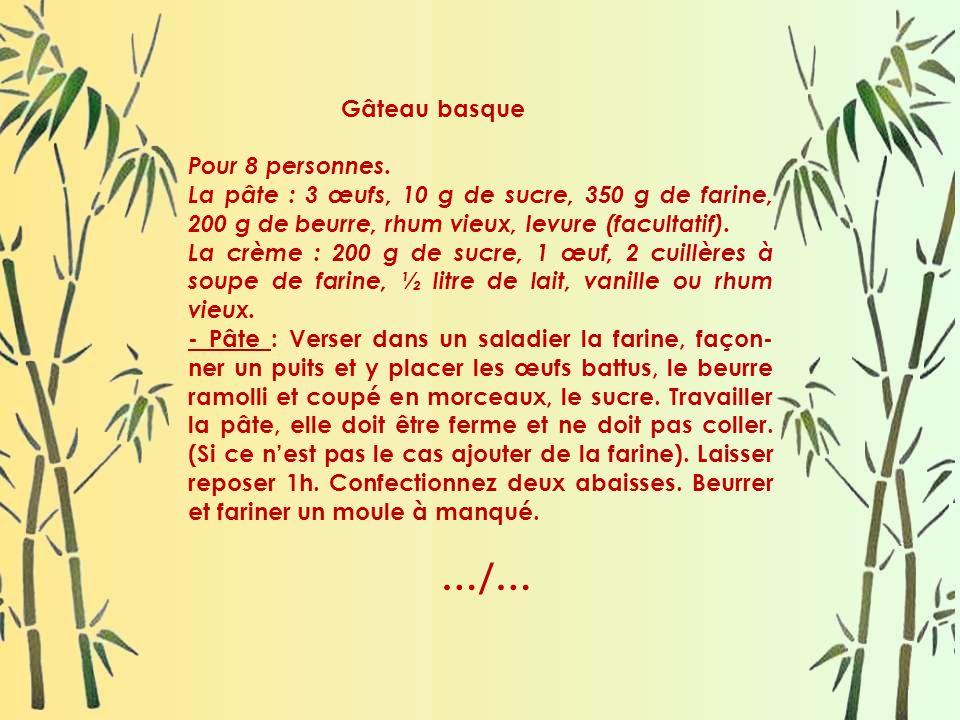 Gâteau basque Pour 8 personnes. La pâte : 3 œufs, 10 g de sucre, 350 g de farine, 200 g de beurre, rhum vieux, levure (facultatif).