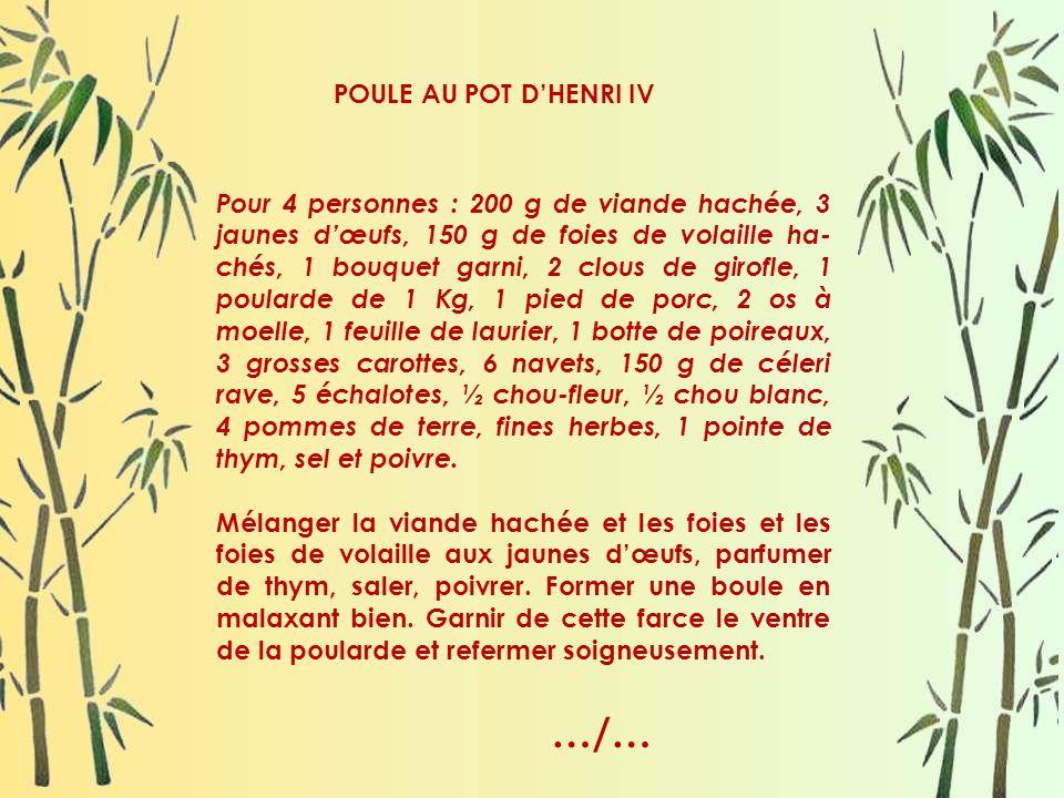 …/… POULE AU POT D'HENRI IV