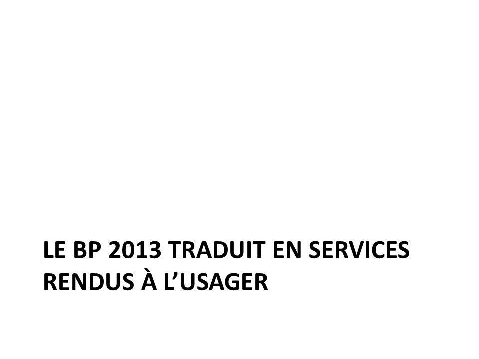 Le BP 2013 traduit en services rendus à l'usager