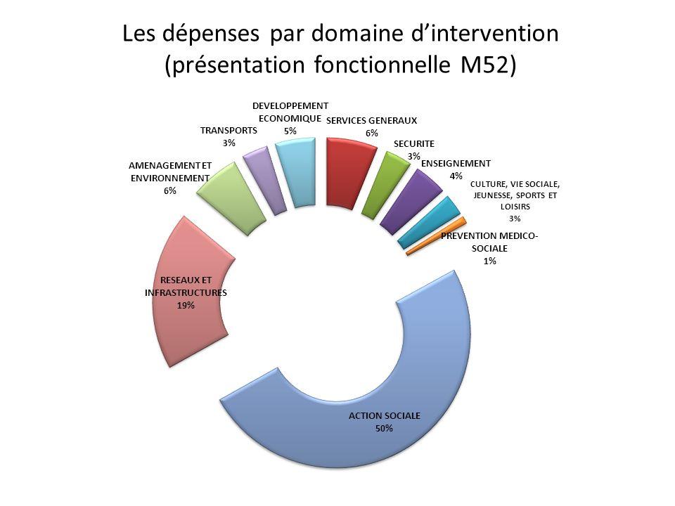 Les dépenses par domaine d'intervention (présentation fonctionnelle M52)