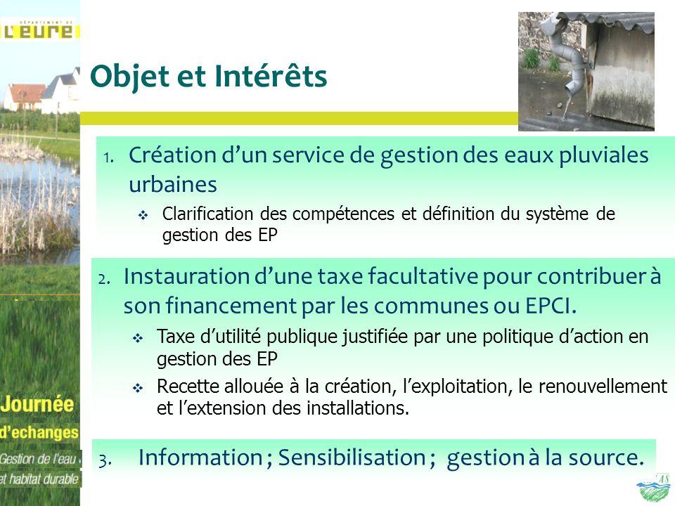 Objet et IntérêtsCréation d'un service de gestion des eaux pluviales urbaines.