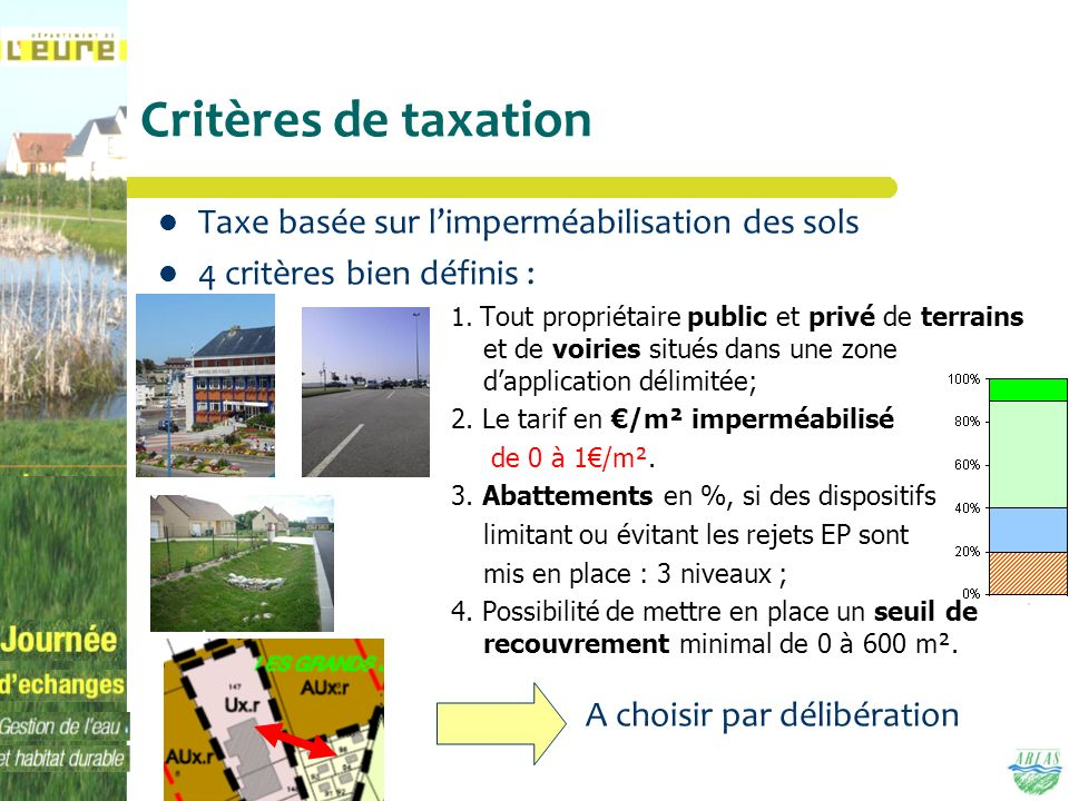 Critères de taxation Taxe basée sur l'imperméabilisation des sols