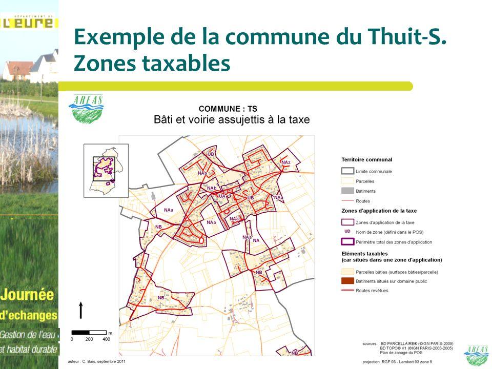 Exemple de la commune du Thuit-S. Zones taxables