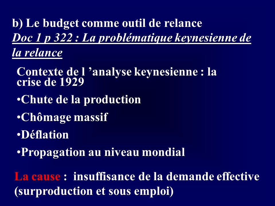 b) Le budget comme outil de relance