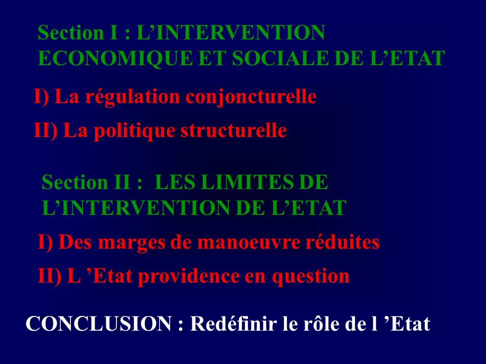 Section I : L'INTERVENTION ECONOMIQUE ET SOCIALE DE L'ETAT