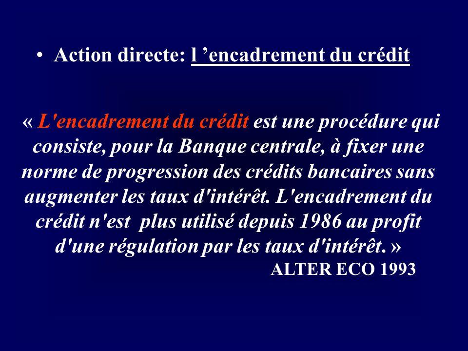 Action directe: l 'encadrement du crédit