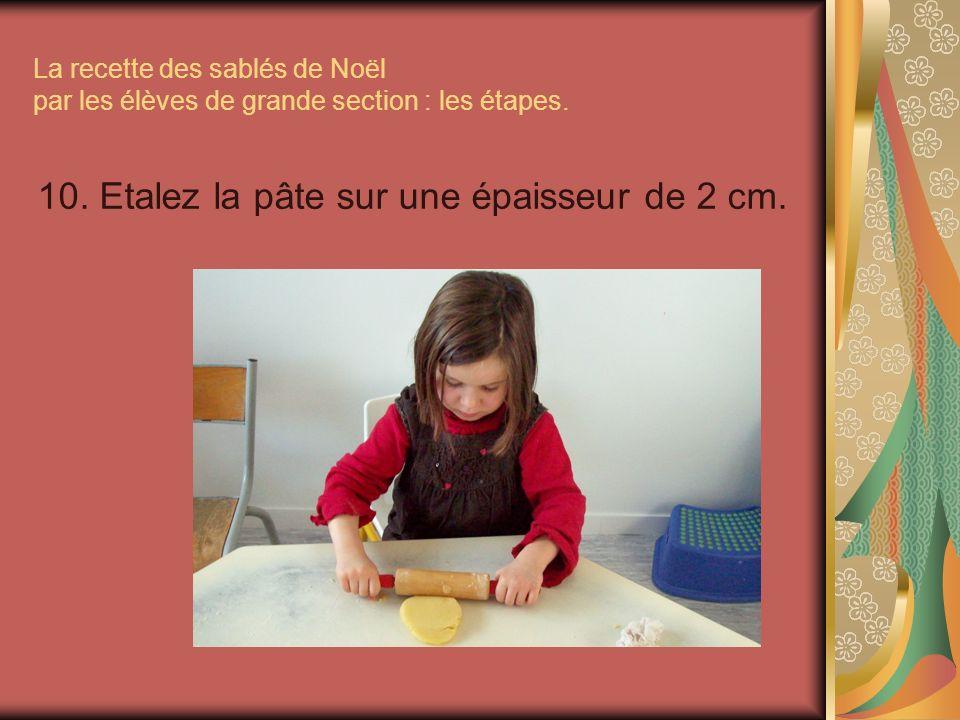 10. Etalez la pâte sur une épaisseur de 2 cm.