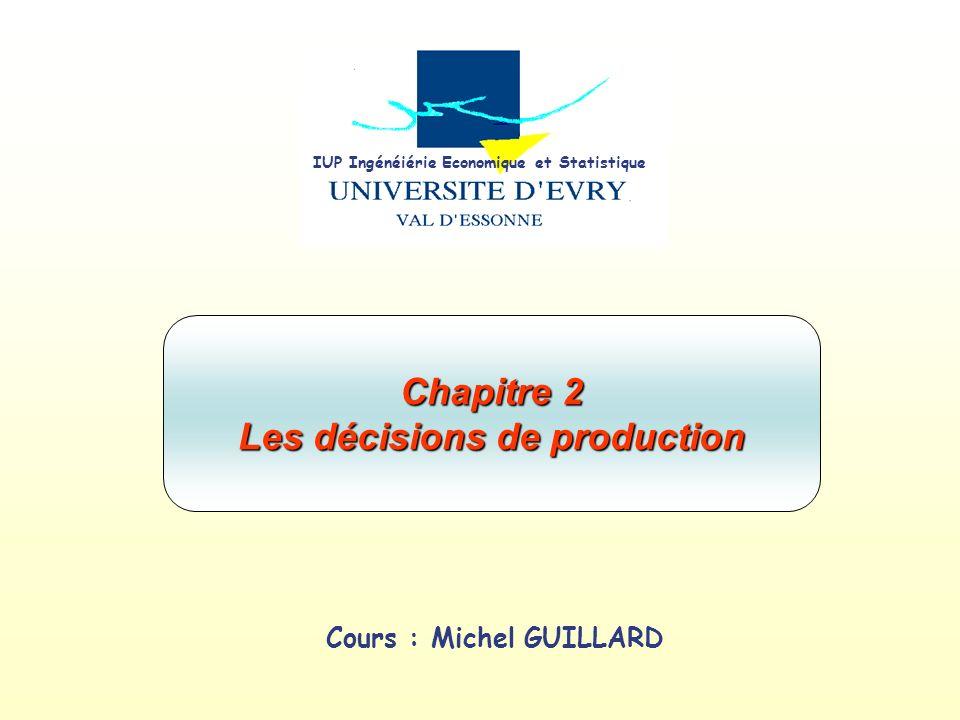 Chapitre 2 Les décisions de production