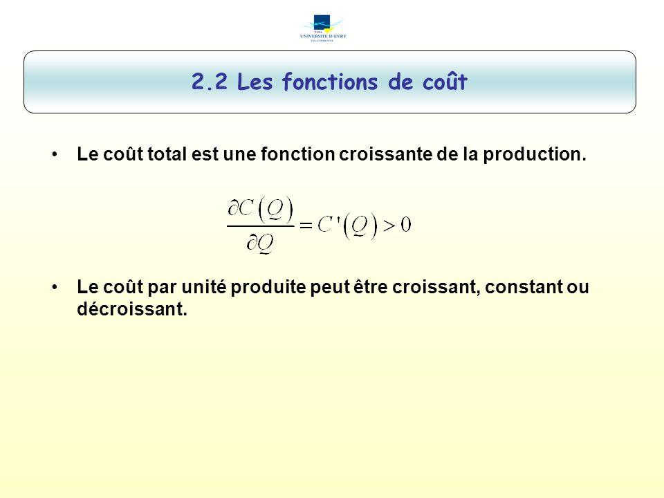 2.2 Les fonctions de coût Le coût total est une fonction croissante de la production.